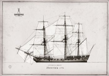 1776 Continental Frigate Hancock pen ink study
